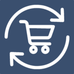 shopping trolley surrounded by circular arrows